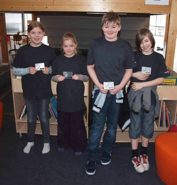 2. præmie til (fra venstre) Birgitte, Signe Sofie, Tobias og Laurits.