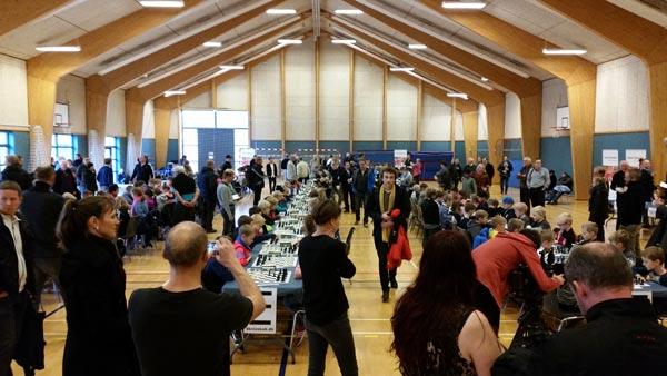 167 spillere i 6 aldersgrupper klar til at spille skak. Der var forbavsende stille i hallen, selvom der var så mange spillere samlet.
